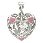 Кулон Чистое Сердце, внутри розовые треугольники и фианит, белое золото