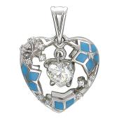 Кулон Холодное Сердце, внутри синие снежинки и фианит, белое золото