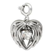 Кулон Свободное Сердце с фианитом в форме сердца на подвесе, крылья ангела, белое золото