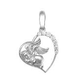 Подвеска Сердце с ангелом и фианитами, белое золото 585 проба