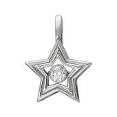 Кулон Impulse Звезда с танцующим фианитом, белое золото