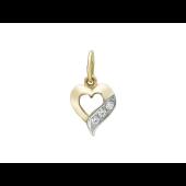 Кулон Сердце, полоска с фианитами, желтое золото 585 проба