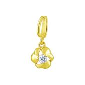 Кулон Цветок с фианитом, желтое золото 585 проба