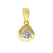 Кулон Цветок с круглым фианитом, желтое золото 585 пробы