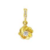 Кулон Цветок с фианитами, желтое золото 585 проба