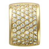 Кулон Дорожка объемная на полукруге, фианиты, желтое золото