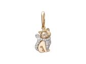 Кот Перс с манишкой и хвостом из фианитов, желтое золото