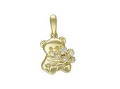 Кулон Мишка с букетом фианитов, желтое золото