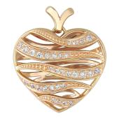 Кулон Горячее Сердце, волнистые полосы с фианитами, желтое золото 585 пробы