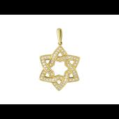 Кулон Звезда шестиконечная с фианитами, желтое золото, 585 проба