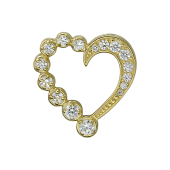 Кулон Сердце с россыпью фианитов, желтое золото
