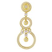 Кулон длинный с кругами и фианитами, желтое золото 585 проба