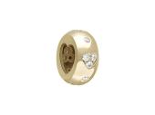 Подвеска-шарм с прорезью Сердце с фианитами, желтое золото, 585 проба