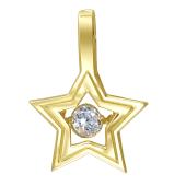 Кулон Impulse Звезда с танцующим фианитом, желтое золото 585 проба