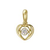 Кулон Impulse сердце с танцующим фианитом, желтое золото