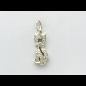 Кулон Кошка с фианитами, серебро
