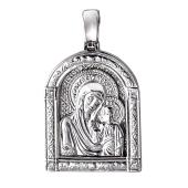 Казанская икона Божьей Матери в узорном окладе из серебра
