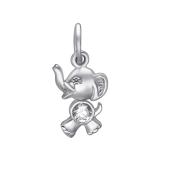 Подвеска Слон с фианитом из серебра 925 пробы