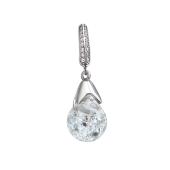 Кулон Капля со стеклянной колбой и кристаллами, серебро