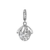 Кулон Гриб со стеклянной колбой и кристаллами, серебро