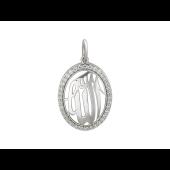 Кулон с мусульманской молитвой и фианитами, серебро