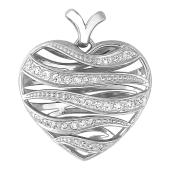Кулон Сердце с линиями и фианитами, серебро