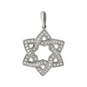 Кулон Звезда Давида с фианитами, серебро