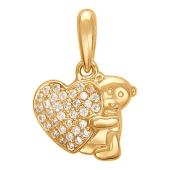 Подвеска Мишка и Сердце с фианитами из серебра 925 пробы с позолотой
