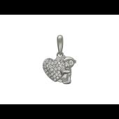 Кулон Мишка Тедди с сердцем и фианитами, серебро