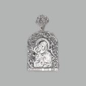Владимирская икона Божьей Матери в узорном окладе, серебро с фианитами
