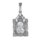 Казанская икона Божьей Матери в фигурном окладе с фианитами, серебро