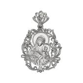 Божья Матерь Благоуханный цвет с веточкой в руках, серебро