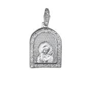 Владимирская Икона Божьей Матери из серебра с фианитами