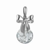 Подвеска Imagination с бантом и стеклянной колбой с кристаллами, серебро