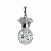 Кулон со стеклянной колбой с фианитами, серебро