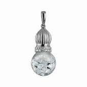 Подвеска Imagination со стеклянной колбой с кристаллами, серебро