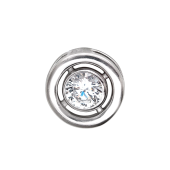 Кулон круглый с фианитом, серебро