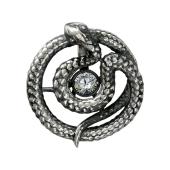 Кулон Змея с танцующим фианитом, Impulse, серебро с чернением