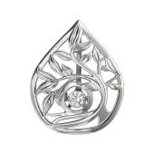 Кулон Веточка с танцующим фианитом, серебро