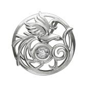Кулон Павлин с танцующим фианитом, серебро