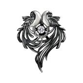Кулон Влюбленные Попугаи с танцующим фианитом, черненое серебро