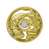 Кулон Рыба в круге с танцующим фианитом, серебро с позолотой