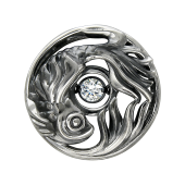 Кулон Рыба в круге с танцующим фианитом, черненое серебро