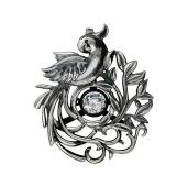 Кулон Impulse Попугай с подвижным фианитом, серебро и чернение