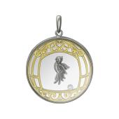 Кулон Попугай в клетке, серебро со стеклом и плавающим фианитом