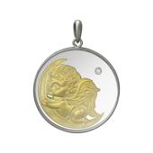 Кулон Ангелочек на Луне, серебро со стеклом и плавающим фианитом