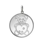 Кулон Мишка, серебро со стеклом и фианитом