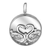 Кулон Влюбленные Лебеди, серебро со стеклом и фианитом