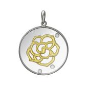 Кулон Лотос в стеклянном круге с плавающими фианитами, серебро с позолотой