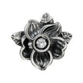 Кулон Impulse Цветок с подвижным фианитом, серебро и чернение